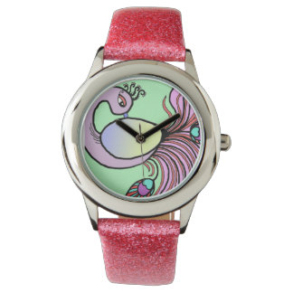 pink peacock watch