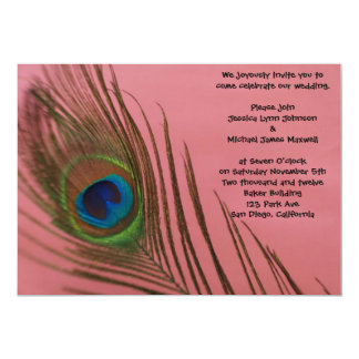 Pink Peacock Wedding Card