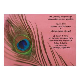 "Pink Peacock Wedding 5"" X 7"" Invitation Card"