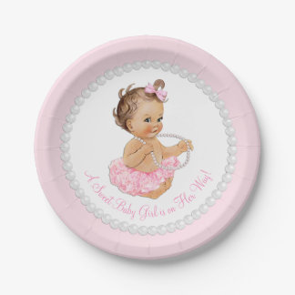 Pink Pearl Ballerina Baby Shower Paper Plate