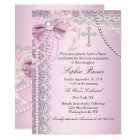 Pink Pearl Bow Cross Holy Communion or Baptism Card