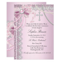 Baptism invitations zazzle rsvp cards pink pearl bow cross holy communion or baptism stopboris Choice Image