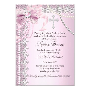 religious Pink Pearl Bow Cross Holy Communion or Baptism Card