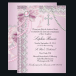 "Pink Pearl Bow Cross Holy Communion or Baptism Invitation<br><div class=""desc"">Girls Pretty Pink First Holy Communion or Baptism Invitation. Elegant Jewel bow with pearls &amp; silver cross. Lace Pink White silver. Please note all flat images! they do not have real lace or jewels!</div>"