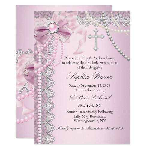 Pink Pearl Bow Cross Holy Communion or Baptism Invitation