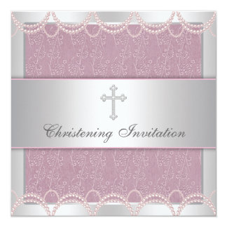 Pink Pearl Cross Baby Girl Baptism Christening Card