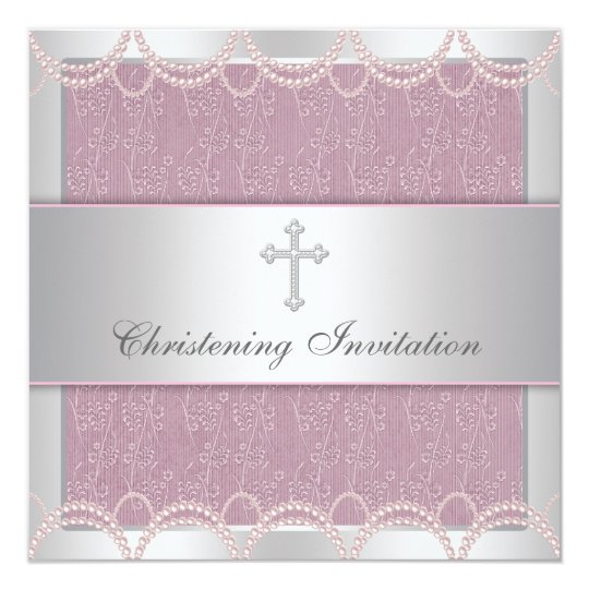 Pink Pearl Cross Baby Girl Baptism Christening Card – Christening Card Invitations