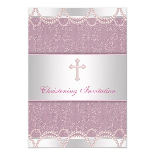 Pink Pearl Cross Baby Girl Baptism Christening Personalized Invites