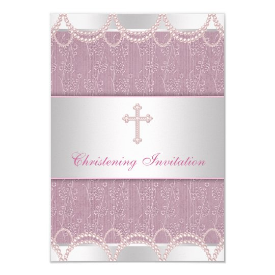 pink pearl cross baby girl baptism christening invitation zazzle com