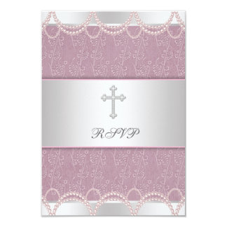 Pink Pearl Cross Baby Girl Baptism Christening RSV Custom Invitations
