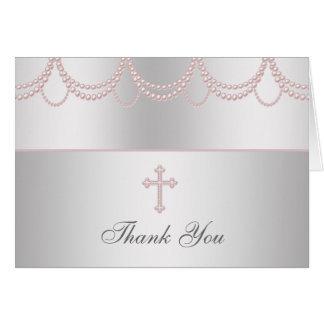 Pink Pearl Cross Girls Cristening Thank You Cards