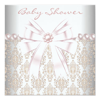 Pink Pearl Damask Baby Shower Card