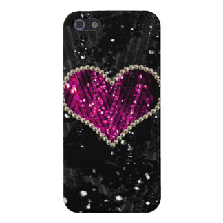 Pink Pearl Heart Cover For iPhone SE/5/5s