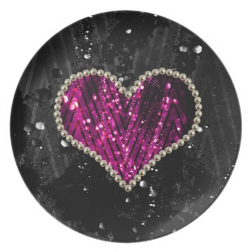 Pink Pearl Heart Dinner Plate