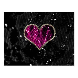 Pink Pearl Heart Postcard