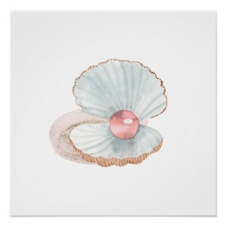 Pink Pearl in Clam Shell Watercolor Poster Print