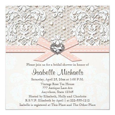 vintage linen and lace bridal shower invitation zazzlecom