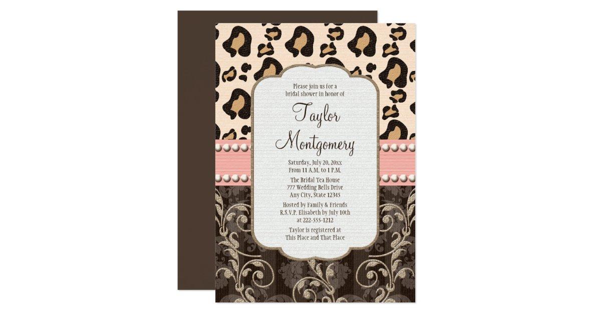 Leopard bridal shower invitations pink pearl leopard print bridal shower invitations zazzle filmwisefo