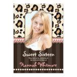 Pink Pearl Leopard Print Sweet 16 Invitations