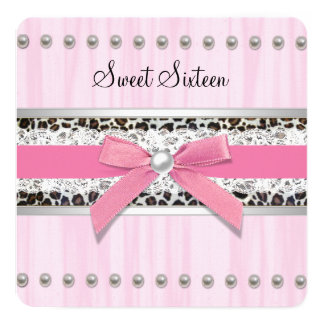 Pink Pearl Leopard Sweet 16 Party Card