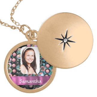 Pink pearl photo template gold plated necklace