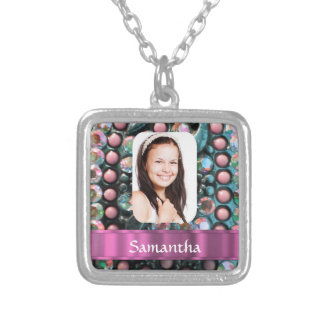 Pink pearl photo template silver plated necklace