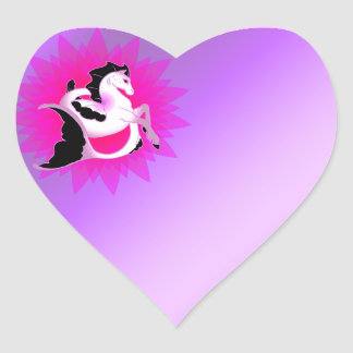 Pink Pearl Seahorse Heart Sticker