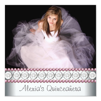 Pink Pearl White Pink Photo Quinceanera Card