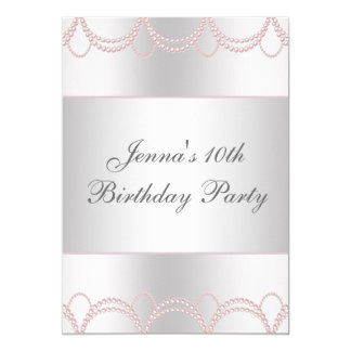 Pink Pearls Birthday Party Card