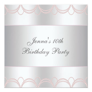 Pink Pearls Girls 10th Birthday Party 5.25x5.25 Square Paper Invitation Card