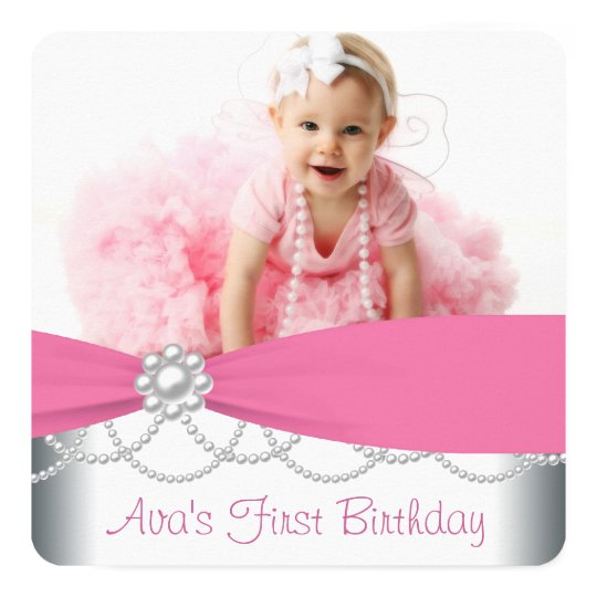 Pink Pearls Girls Photo Birthday Party Card