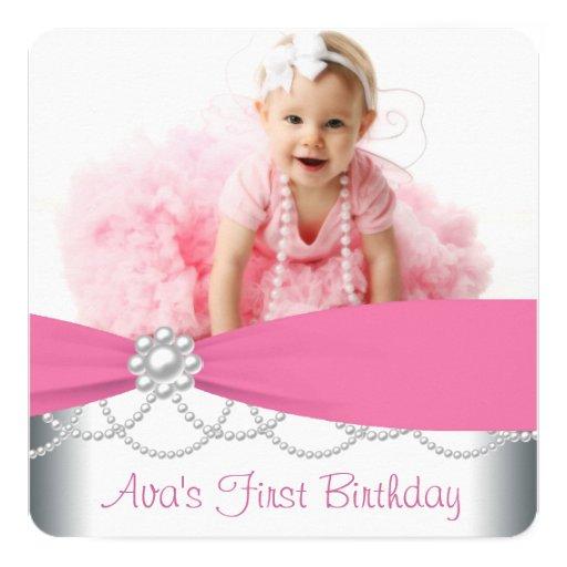 Pink Pearls Girls Photo Birthday Party Invitation