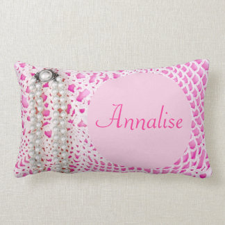 Pink Pearls & Lace - PERSONALIZED! Throw Pillow