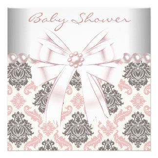 Pink Pearls Pink Brown Damask Baby Girl Shower Custom Invitations