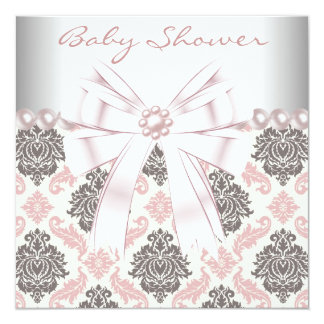 Pink Pearls Pink Brown Damask Baby Girl Shower 5.25x5.25 Square Paper Invitation Card