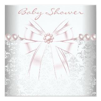 Pink Pearls Pink Damask Baby Girl Shower Invitation