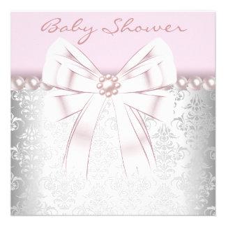 Pink Pearls Pink Damask Baby Shower Custom Invite