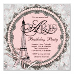 """Pink Pearls Pink Paris Sweet 16 Birthday Party 5.25"""" Square Invitation Card"""