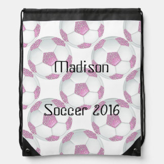 Pink Pearls Soccer Ball Personalized Bag Drawstring Backpack
