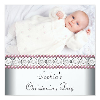 Pink Pearls White Baby Girl Photo Christening Card