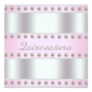 Pink Pearls White Pink Quinceanera 5.25x5.25 Square Paper Invitation Card