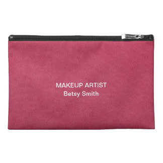 Pink Pebbled Leather Photo Travel Accessory Bag