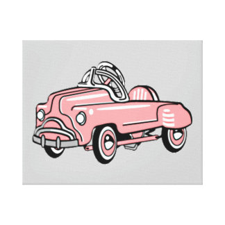 PINK PEDAL CAR RETRO WALL ART Wrapped Canvas