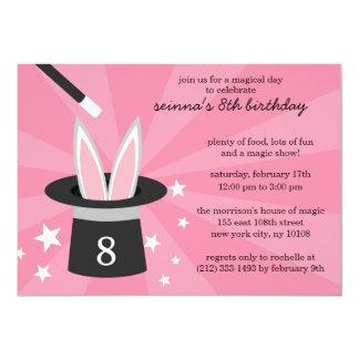 "Pink Peek-a-Boo Rabbit Custom Magic Birthday Party 5"" X 7"" Invitation Card"