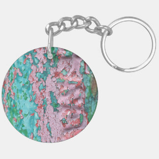 Pink  Peeling Paint Double-Sided Round Acrylic Keychain