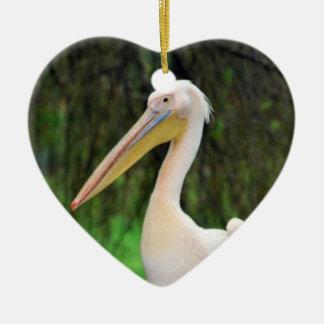 Pink Pelican bird with long beak Ceramic Ornament
