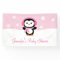 Pink Penguin Baby Shower Banner