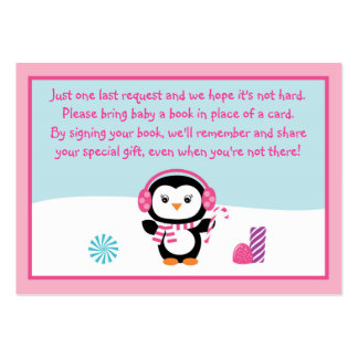 Pink Penguin Baby Shower Book Request Cards