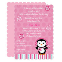 Pink Penguin Baby Shower Card