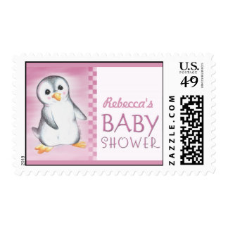 Pink Penguin baby shower postage